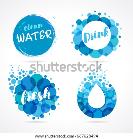 Vector set of abstract aqua blue symbols, clean water drops and wave logo template. Abstract water logo set design