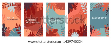 Vector set of abstract backgrounds with copy space for text - autumn sale - bright vibrant banners, posters, cover design templates, social media stories wallpapers with yellow and orange leaves