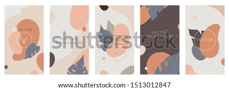 Vector set of abstract backgrounds with copy space for text - bright vibrant banners, posters, cover design templates, social media stories wallpapers with tropical leaves and plants