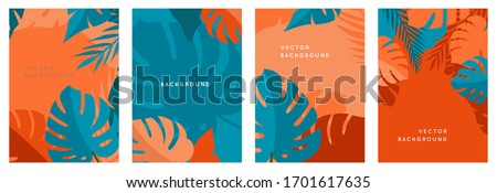 Vector set of abstract backgrounds with copy space for text - bright vibrant banners, posters, cover design templates, social media stories wallpapers with tropical leaves and plants in minimal simple