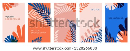 Vector set of abstract backgrounds with copy space for text, leaves and plants - vibrant banners in red and blue colors - cover design templates, social media stories wallpapers in minimal style
