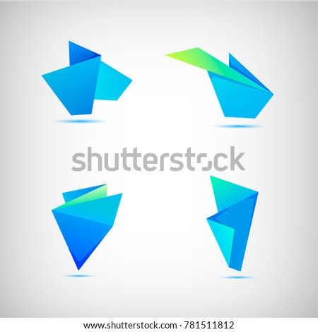 Vector set of abstract blue origami 3d logos, icons.