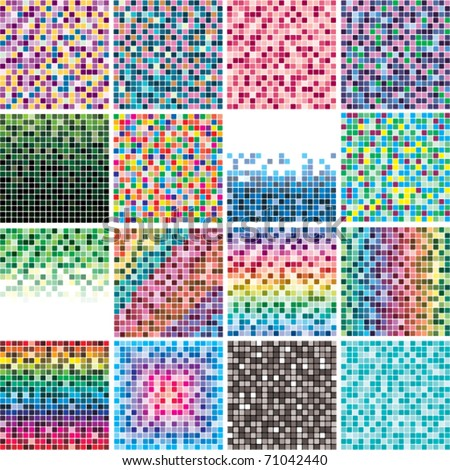 vector set of abstract colorful tile backgrounds