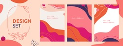 Vector set of abstract creative backgrounds in minimal trendy style with copy space for text - design templates for social media posts and stories - simple, stylish and minimal wallpaper designs