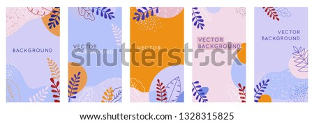 Vector set of abstract creative backgrounds in minimal trendy style with copy space for text - design templates for social media stories - simple, stylish designs with terrazzo textures and leaves