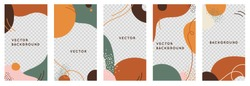 Vector set of abstract creative backgrounds in minimal trendy style with copy space for text and photo - design templates for social media stories and bloggers - simple, stylish and minimal designs fo