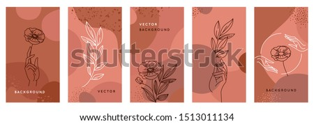 Vector set of abstract creative backgrounds in minimal trendy style with hands and leaves in line style with copy space for text - design templates for social media stories and bloggers - simple, styl