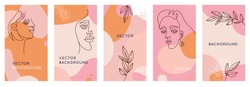 Vector set of abstract creative backgrounds in minimal trendy style with women face portrait in one line with copy space for text - design templates for social media stories