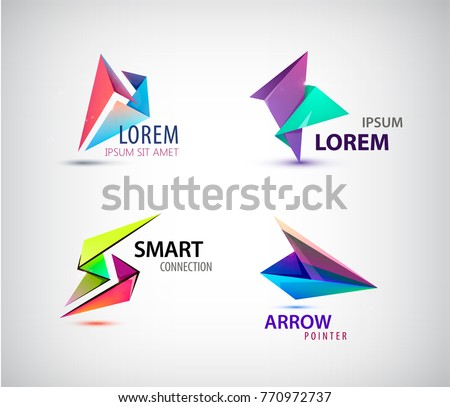 vector set of abstract 3d