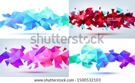Vector set of abstract facet 3d shapes isolated. Horizontal crystal banners, posters, geometric backgrounds. Red, purple, blue
