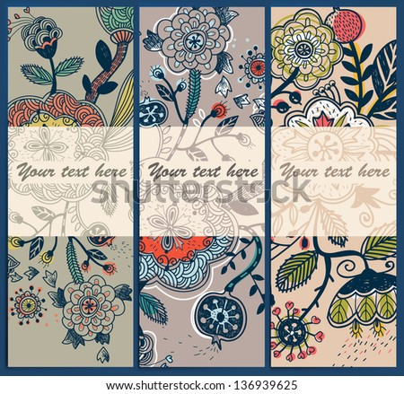 vector set of abstract floral cards #136939625