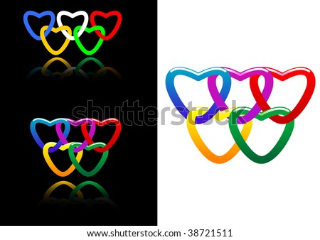 vector set of abstract heart