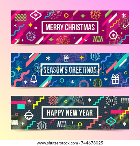 Vector set of abstract holidays background banners with multicolored geometric shapes, christmas signs and symbols and frame with greeting.
