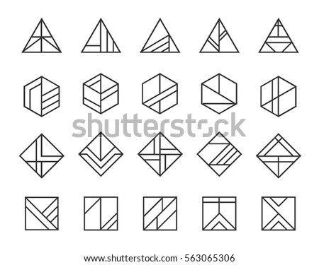 Vector set of abstract linear hipster logos. Geometric icons, identity, stamps, signs, marks and stickers