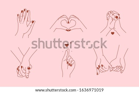 Vector set of abstract logo design template in simple linear style - holding hands gestures - love and friendship concepts - tattoo and sticker design elements. Valentine's day greeting card in minima