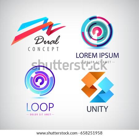 vector set of abstract logos