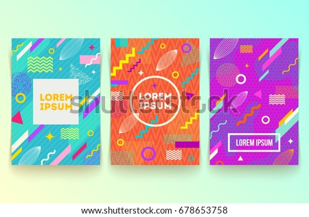 Vector set of abstract memphis style retro background with multicolored simple geometric shapes and copy space frame