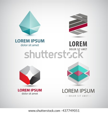 Vector set of abstract origami logos, crystal, faceted, paper icons isolated. Identity creative ideas