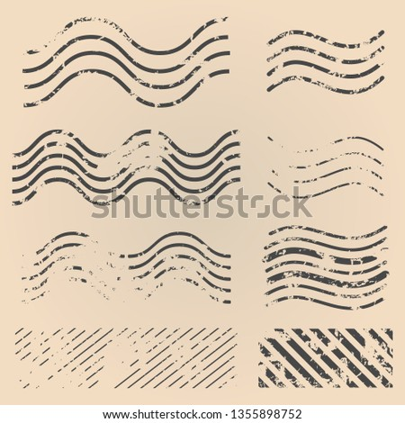 Vector Set of Abstract Postal Stamps on Brown Background.