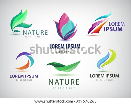 Vector set of abstract wavy logo, spa salon, nature icons isolated. Identity. Spa floral  organic logos, eco abstract