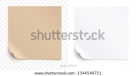 Vector set of adhesive stickers with a folded corners. Tan cardboard and white paper squares. Blank perfect templates of a price tags. Empty mock up for memos. Realistic textures. Transparent shadows