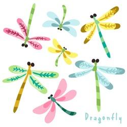 Vector set of adorable dragonflies.