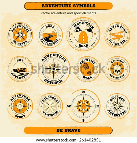 Vector set of adventure and sport symbols. Could be used: T-shirt and textile design, travel agencies and sport clubs, adventure articles, web-design