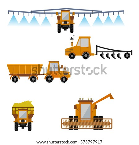 Vector set of agricultural vehicles and farm machines. Tractors, harvesters, combines. Illustration in flat design. Agriculture machinery. Agriculture crop harvest.