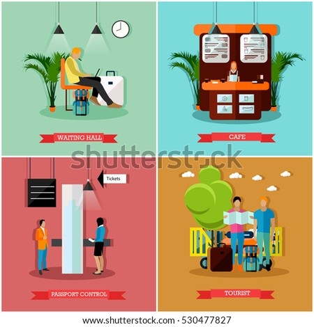 vector set of airport concept