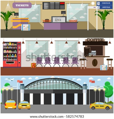 vector set of airport interior