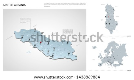 Vector set of Albania country.  Isometric 3d map, Albania map, Europe map - with region, state names and city names.