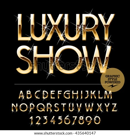 Vector set of alphabet letters, numbers and punctuation symbols.  Gold emblem with text Luxury show