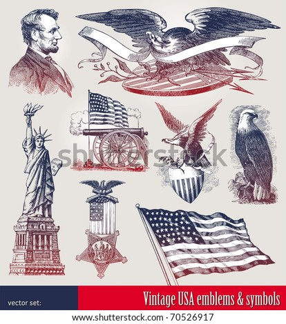 Vector set of american patriotic emblems & symbols - stock vector