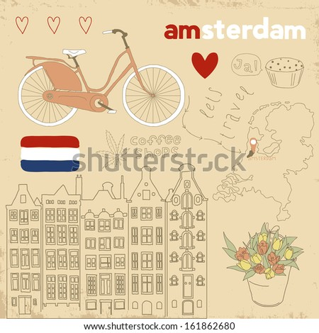 Vector set of Amsterdam symbols on vintage old papers Collections of hand drawn doodles