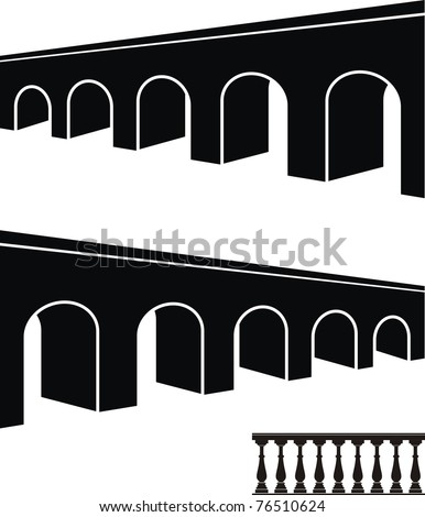 Vector set of ancient stone bridge black silhouettes and balustrade - isolated illustration on white background