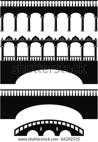 Vector set of ancient stone bridge black silhouettes - isolated illustration on white background