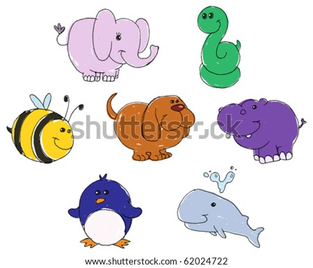 Vector set of animal doodles - stock vector