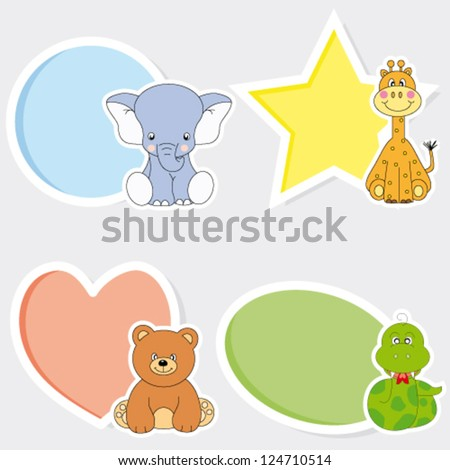 Vector set of animal stickers.