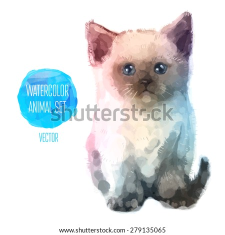 vector set of animals cat hand