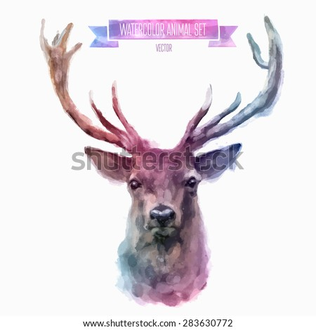 vector set of animals deer