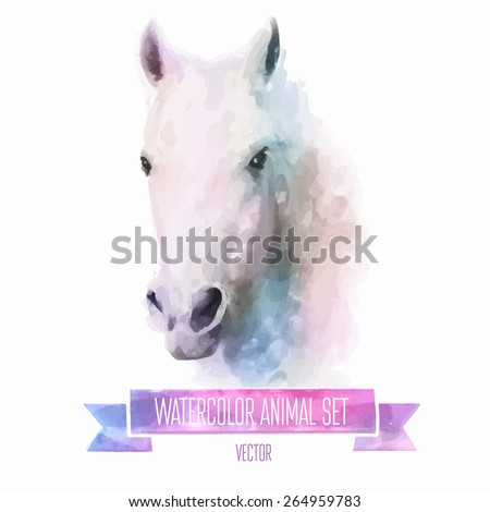 vector set of animals horse
