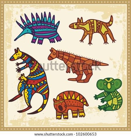 Vector Set Of Animals In Australian Aboriginal Style 102600653