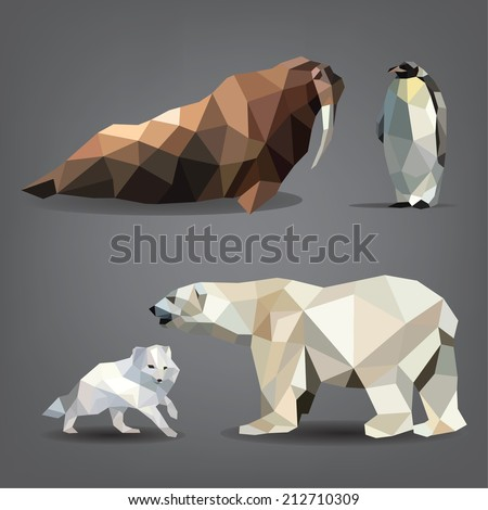 Vector set of animals of the north bear arctic fox walrus penguin