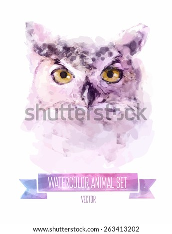 vector set of animals owl hand