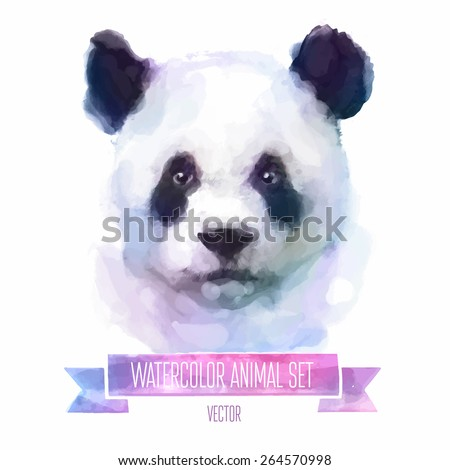 vector set of animals panda