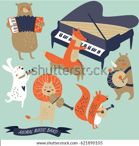 vector set of animals playing