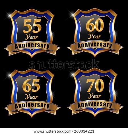 Vector set of anniversary elements, 55, 65, 70 , 60, year anniversary badge - eps 10