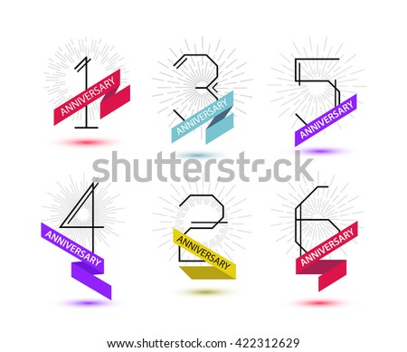 vector set of anniversary...