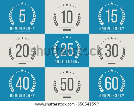 Shutterstock Vector set of anniversary signs, symbols. Five, ten, fifteen, twenty, thirty, forty, fifty, sixty years jubilee design elements collection.