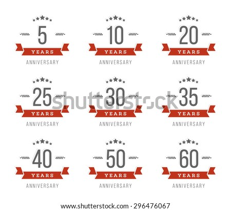 vector set of anniversary signs ...